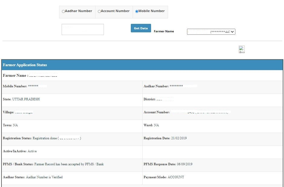 Click on the Check Status button and your PM Kisan Application status will be displayed on the screen